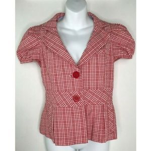 Taikonku Anthropologie Red Gingham Short Sleeve 6